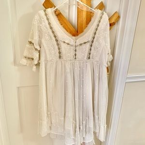 Free People cream embroidered dress
